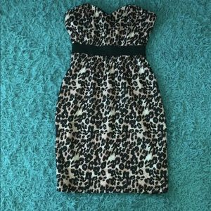 Strapless Cheetah Print Dress